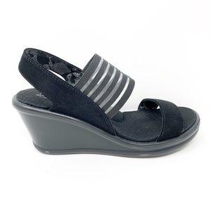 Skechers Wedge Sandals Size 6 Black, Memory Foam